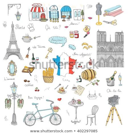 ストックフォト: パリ · 有名な · シンボル · セット · コレクション · 旅行
