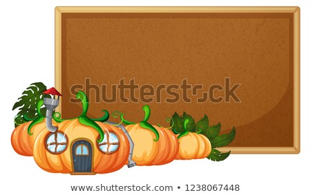 pumpkin house on corkboard template stock photo © colematt
