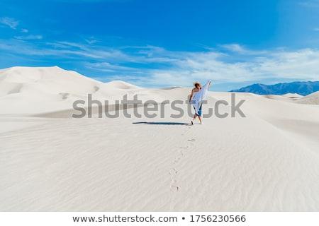 песчаный пейзаж женщину Top дюна пустыне Сток-фото © vapi