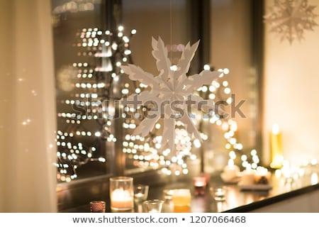 christmas · kaarsen · donkere · nacht · mooie · vakantie - stockfoto © dolgachov