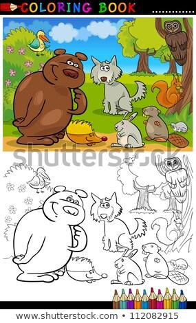 állat betűk csoport szín könyv rajz Stock fotó © izakowski