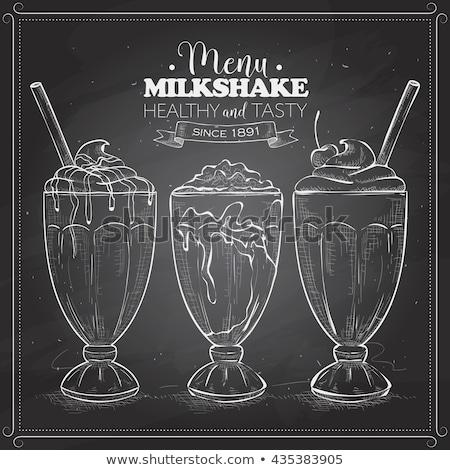 Milkshake schets stijl vruchten achtergrond Stockfoto © netkov1