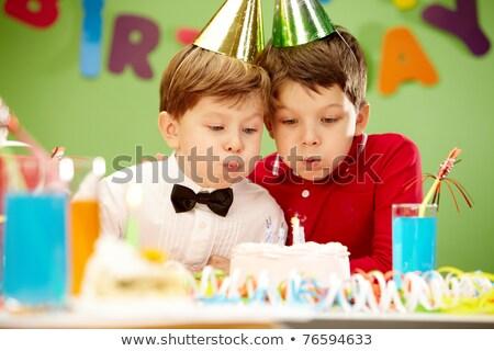 мало · мальчика · вечеринка · носить · Роге - Сток-фото © nyul
