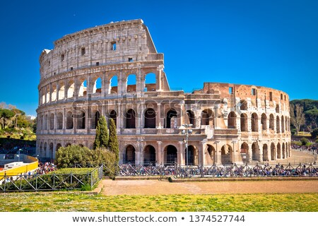 Colosseum Róma festői nap pára kilátás Stock fotó © xbrchx
