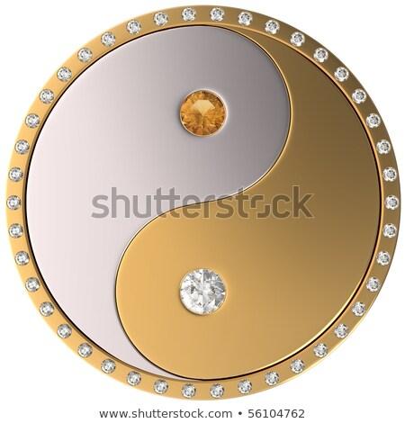 Diamante yin yang 3D immagine nero spazio Foto d'archivio © AnatolyM