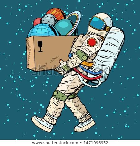 Raum Exploration Astronaut Planeten Feld Pop-Art Stock foto © studiostoks