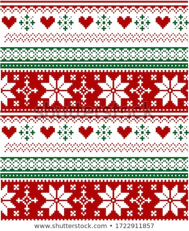 Scandinavian Christmas seamless vector pattern with snowflakes, hearts and Christmas trees - Nordic  Stock photo © RedKoala