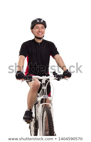 A biker man over a studio  white background Stock photo © Lopolo
