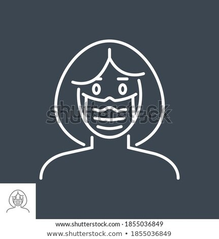 Woman wit medical mask related vector thin line icon. Stock photo © smoki