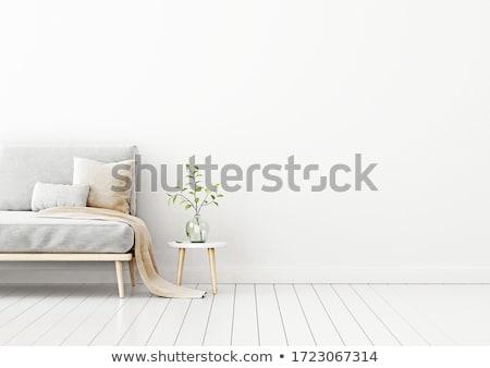 Nappali belső kanapé citromsárga párnák fekete Stock fotó © dashapetrenko