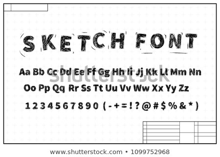 Black sketch font on blueprint layout plan with marks Stock photo © evgeny89