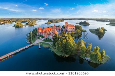 острове замок озеро Литва лодках лет Сток-фото © dmitry_rukhlenko