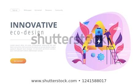 Baterii technologii lądowanie strona naukowcy Zdjęcia stock © RAStudio