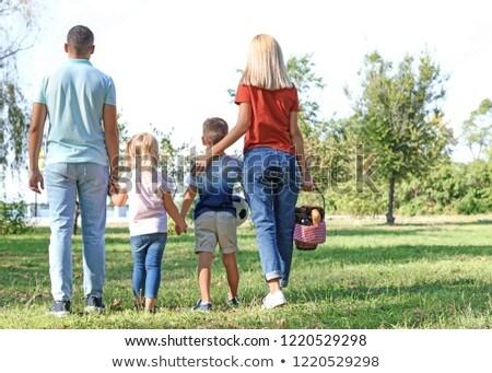 family with picnic basket walking in summer park Stock photo © dolgachov