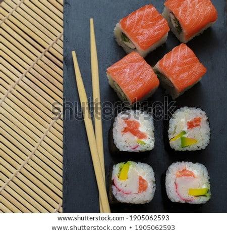 Iki maki soya sosu gıda balık restoran Stok fotoğraf © photography33