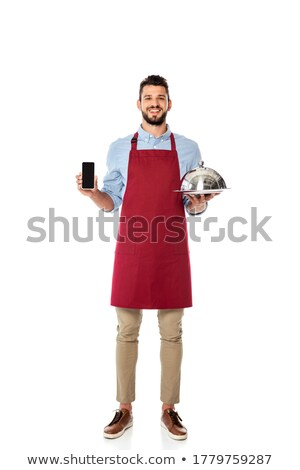 Waiter with a cellphone on a tray Stock photo © photography33