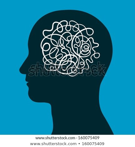 Male head with a convoluted entangled brain Stock photo © adrian_n