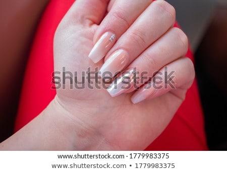 Acrylique clous manucure main rouge français Photo stock © zastavkin