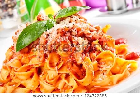 Stock fotó: Kész · étel · tészta · paradicsom · disznóhús · mártás