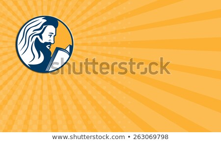 Business card Saint Jerome Reading Bible Retro Stock photo © patrimonio