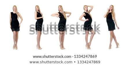 かなり 妊婦 ミニ 黒のドレス 孤立した 白 ストックフォト © Elnur