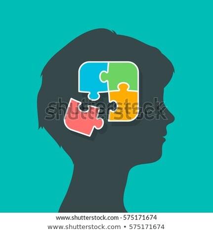 Vrouw puzzelstukjes samen hersenen silhouet hoofd Stockfoto © adrian_n