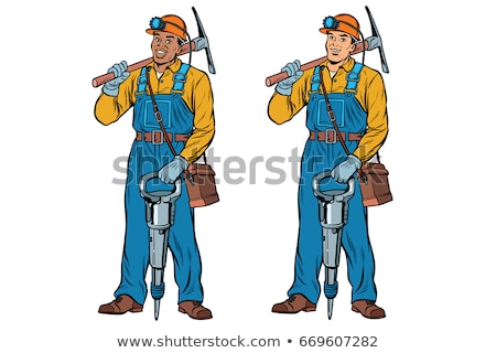 African and Caucasian miners with jackhammer pickaxe Stock photo © studiostoks