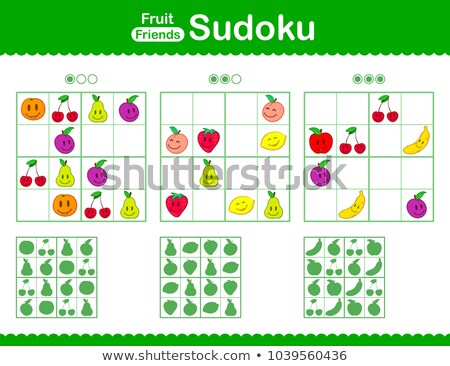 Childrens sudoku puzzle with smiley cartoon fruit Stock photo © adrian_n