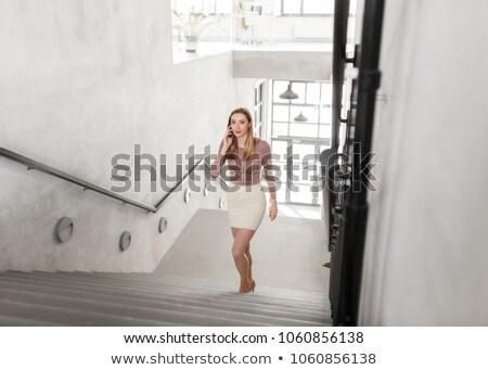 деловая женщина смартфон ходьбе наверх деловые люди технологий Сток-фото © dolgachov