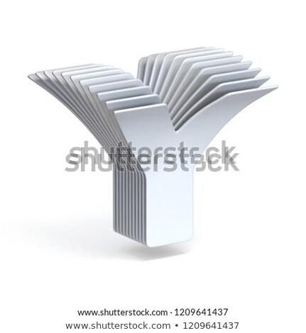 Curved paper sheets Letter Y 3D Stock photo © djmilic