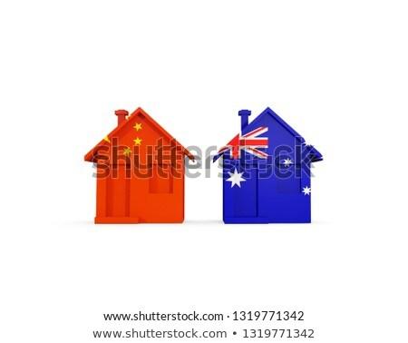 Dos casas banderas China Australia aislado Foto stock © MikhailMishchenko