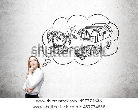 Vrouw financiële succes denken start Stockfoto © ichiosea