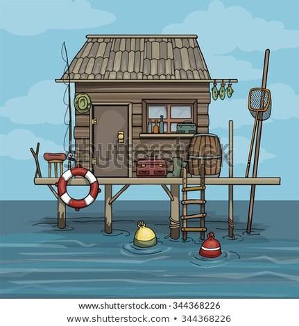 Huts of fishermen in the bay Stock photo © tilo