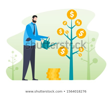 Businessman and Coin, Earning Money, Dollar Vector Stock photo © robuart
