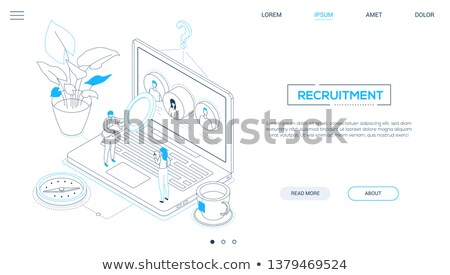 Human resources - modern colorful isometric web banner Stock photo © Decorwithme