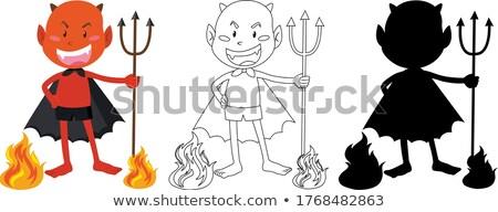 Rood duivel kleur schets silhouet illustratie Stockfoto © bluering