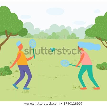 少女 男 演奏 バドミントン 公園 草原 ストックフォト © robuart