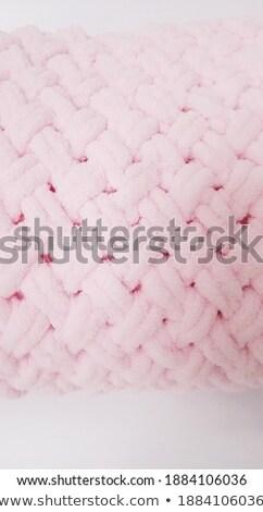 Sweet tricoté peluche couverture personnes Photo stock © dolgachov