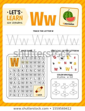 Nauczyć pisać list w skoroszyt dzieci czarno białe Zdjęcia stock © izakowski