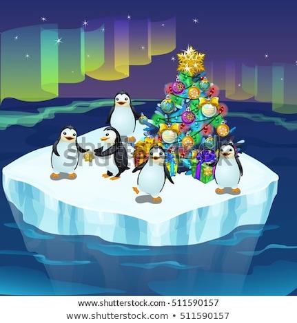 Christmas Greeting White Balls On Aurora Borealis Background Stok fotoğraf © lady-luck