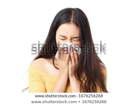Beteg nő papírzsebkendő fehér kéz arc Stock fotó © dacasdo