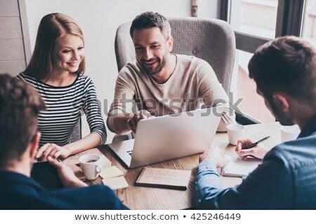 Dinamik iş toplantısı iş arka plan tablo iletişim Stok fotoğraf © photography33