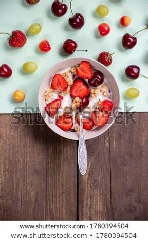 A cherry wood bowl of corn grain Stock photo © manaemedia