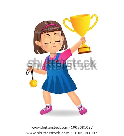 Kislány aranyérem futballabda futball gyermek szépség Stock fotó © goce
