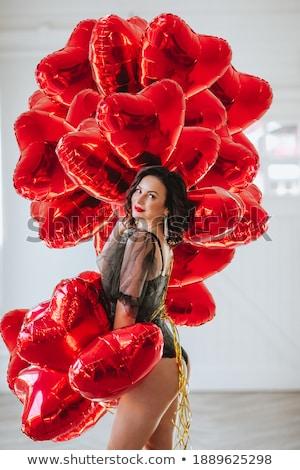 Csinos hölgy ajkak piros szívek közelkép Stock fotó © ra2studio