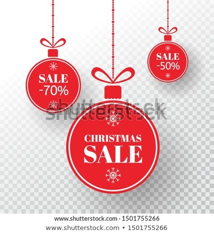 christmas special offer on red circle banner with snowflakes sym Stock photo © marinini