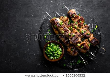 サラダ · 魚 · フルーツ · 乳がん · プレート · 肉 - ストックフォト © frescomovie