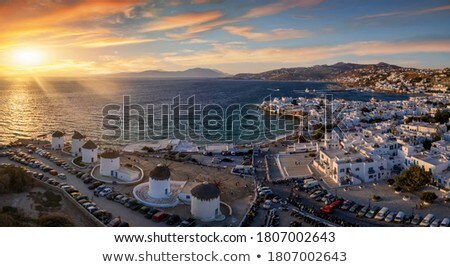 beautiful old mediterranean town at the sinrise time stock photo © taiga