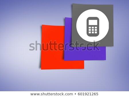 Foto stock: Nota · pegajosa · telefone · móvel · ícone · roxo · composição · digital