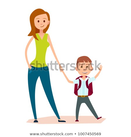 Mother Leads Small Son to School or to Classes Stock photo © robuart